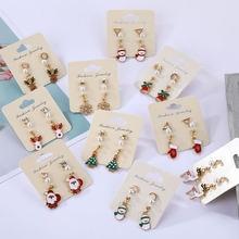 En Мультяшные рождественские серьги ювелирные изделия красивые
