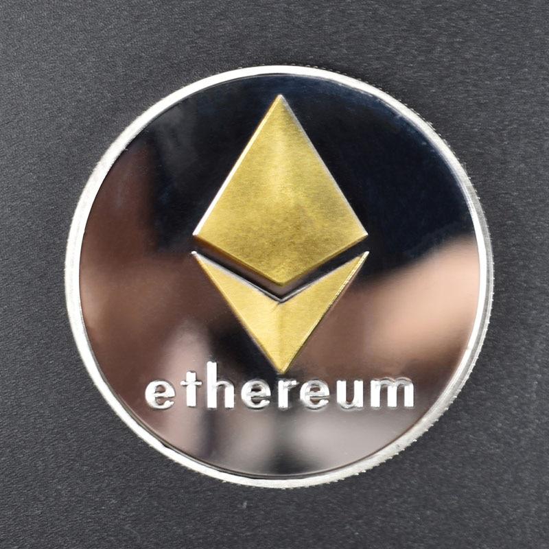 Позолоченные Биткоин Бит монета пульсация Litecoin эфириум коллекция подарок 40 мм криптовалюта монета металлическая памятная монета - Цвет: Eth double color