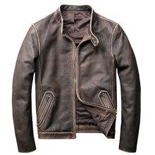Chaquetas de piel auténtica Vintage 2019 para hombre, chaquetas urbanas para motocicleta de talla grande 5XL, abrigo de motorista ajustado con cuello levantado para hombre