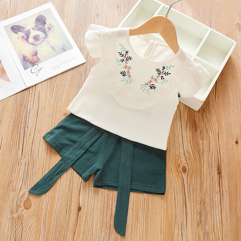 Girls Clothing Sets Toddler Girl Shirt Summer Flower Printing Vest Pants Fashion Kids Clothes Casual Clothing Sets For Children