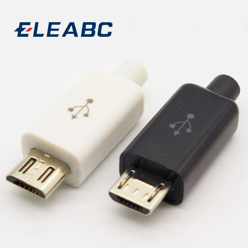 10Pcs Micro Usb 5PIN Lassen Type Male Plug Connectors Lader 5P Usb Staart Opladen Socket 4 In 1 wit Zwart