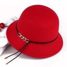 Зима-осень женские Для женщин девочек Винтаж шерсть цепь Тип делового головного войлок котелок Шляпа Fedora для женщин