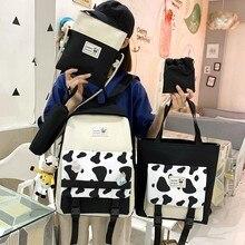 4 Pcs Set Student Schoolbag Large-capacity Women