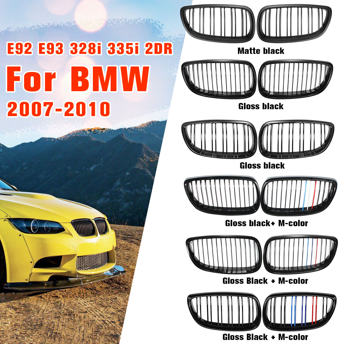 Gloss Matte Black M-color Dual Line Front Grille Kidney Grill For BMW E92 E93 M3 328i 335i 2Door 2007 2008 2009 Car Styling