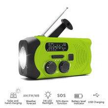 Solar Emergency Radios SOS Alarm AM/FM/WB Radio Hand Crank Self Powered with LED Flashlight AS Power Bank FOR USB Charging цена 2017