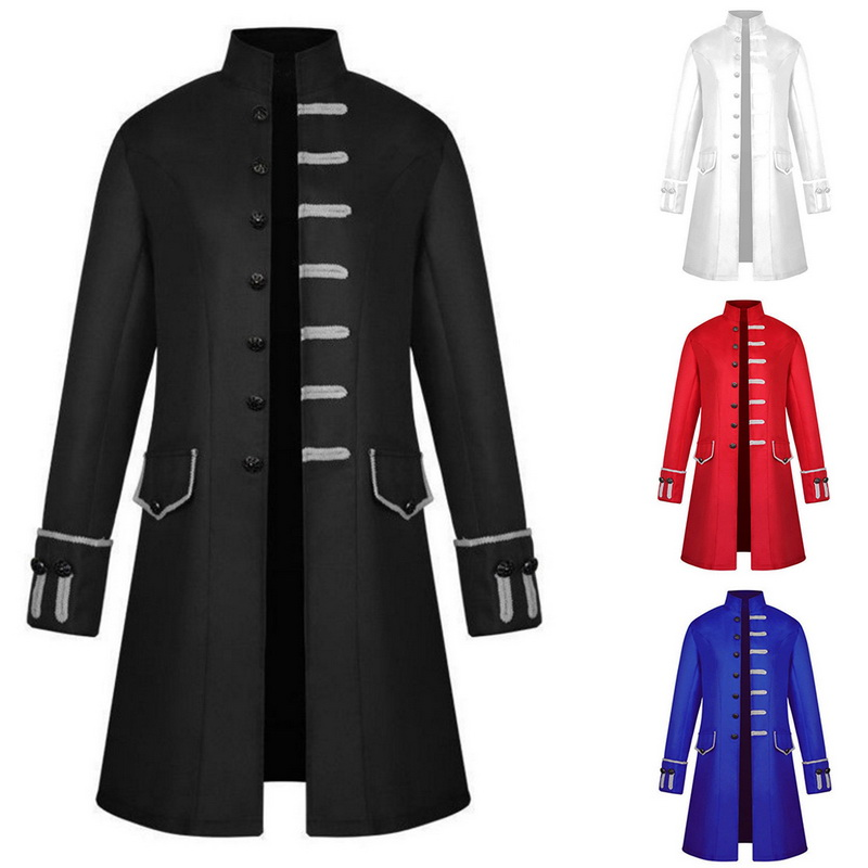 Jacket Men Steampunk Long Coat Vintage Gothic Windbreaker Top-Trench Streetwear Brocade