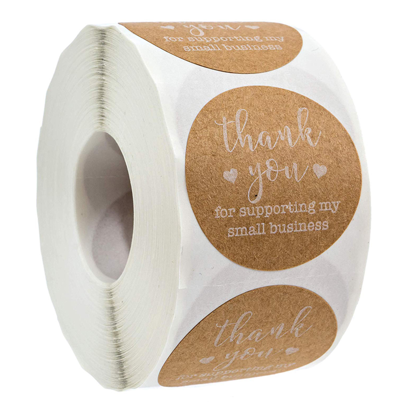Natural Kraft Round Sticker Thank You For Supporting My Small Business Stickers For Stationery Sticker 500 Labels Per Roll