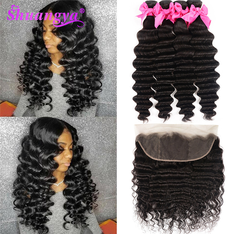 Shuangya Hair Loose Deep Wave Bundles With Frontal Brazilian Weave Closure Remy