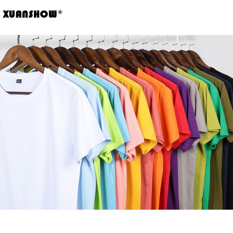 XUANSHOW 2020 Summer Style Cotton T Shirt Women Candy Colors Basic T-Shirt Women Casual Tops Loose Short Sleeve Tshirt Oversize