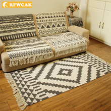RFWCAK Cotton Soft Tassel Home Carpet For Living Room Bedroom Kid Room Decorate Home Floor Door Mat Simple Nordic Area Rug