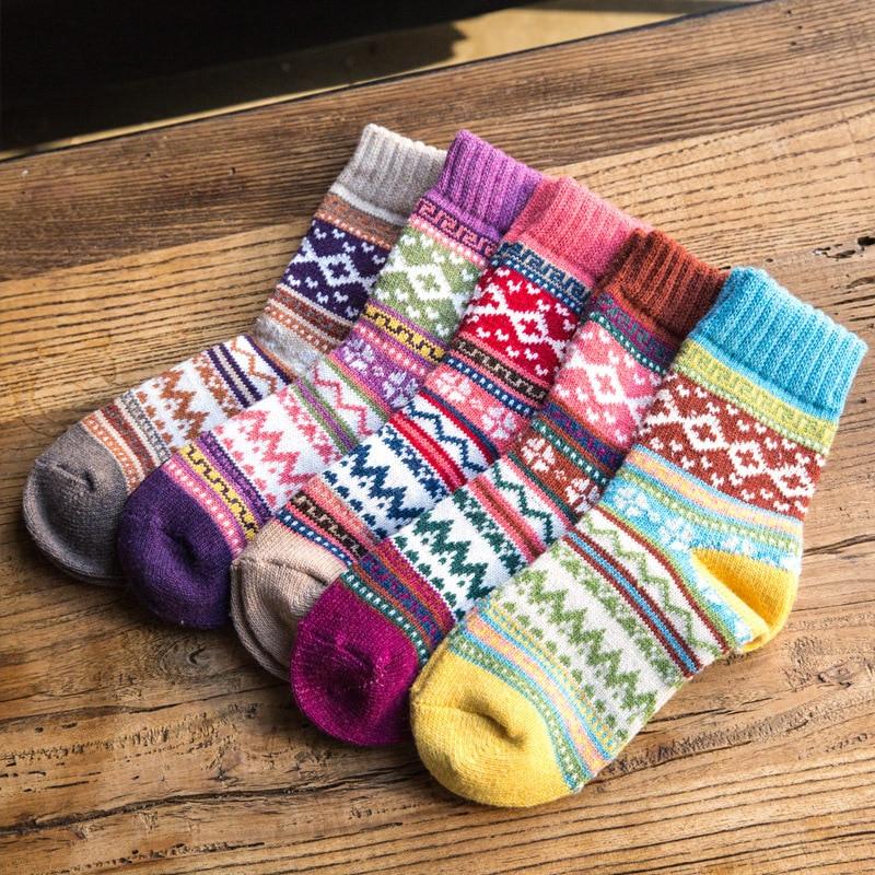 Женские носки в богемном стиле в этническом стиле на осень и зиму, утепленные теплые шерстяные кашемировые плотные носки для снежной погоды...