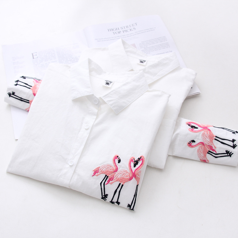 Factory Direct Autumn Women Blouses New Exquisite Flamingo Embroidery Female Long-sleeved Casual Wild White Shirt XQ014