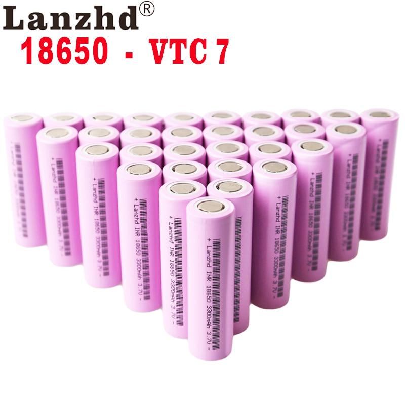 Akumulatory 18650 30a do wielokrotnego ładowania do urządzeń Samsung, baterie ładowalne, 3300mAh, INR18650, 18650VTC7, 3,7V, litowo-jonowe, pojemne