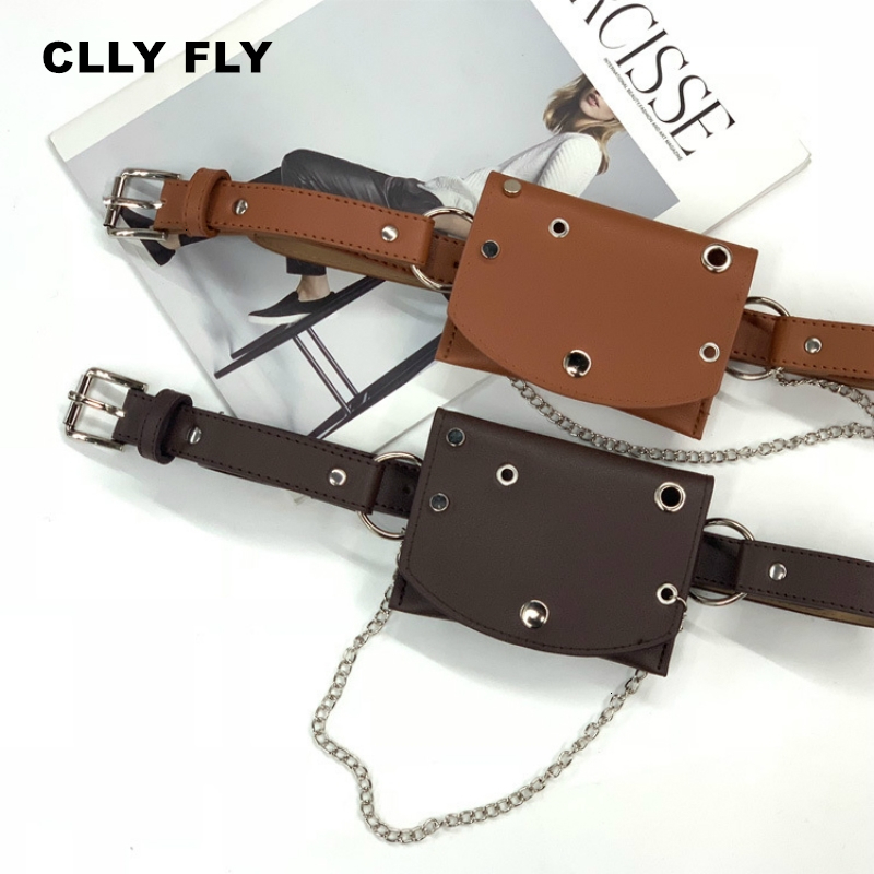 Women Waist Bag Leather Female Belt Chain Bags Fashion Fanny Pack Waist Belt Bag Female Hip Belt Bum Pouch Phone Bags Black