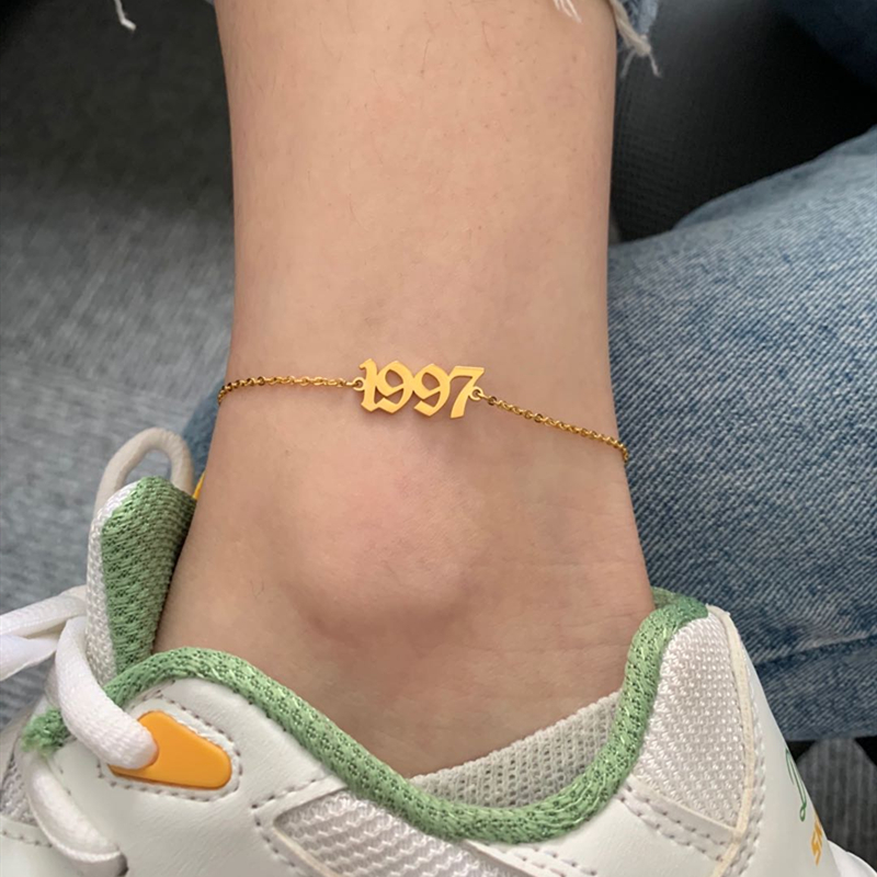 Old English Year Anklet New Baby Birth Age 1985 1999 2000 2019 Ankle Bracelets Stainless Steel Leg Chain Foot Jewelry