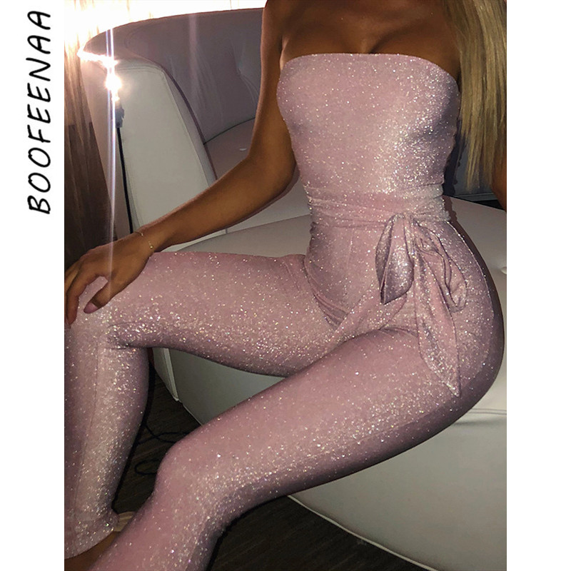 BOOFEENAA Sparkle Sexy Jumpsuit Clubwear Party One Piece Outfit Women Ropa Mujer Tube Top Bodycon Romper Jumpsuits C92-AB64