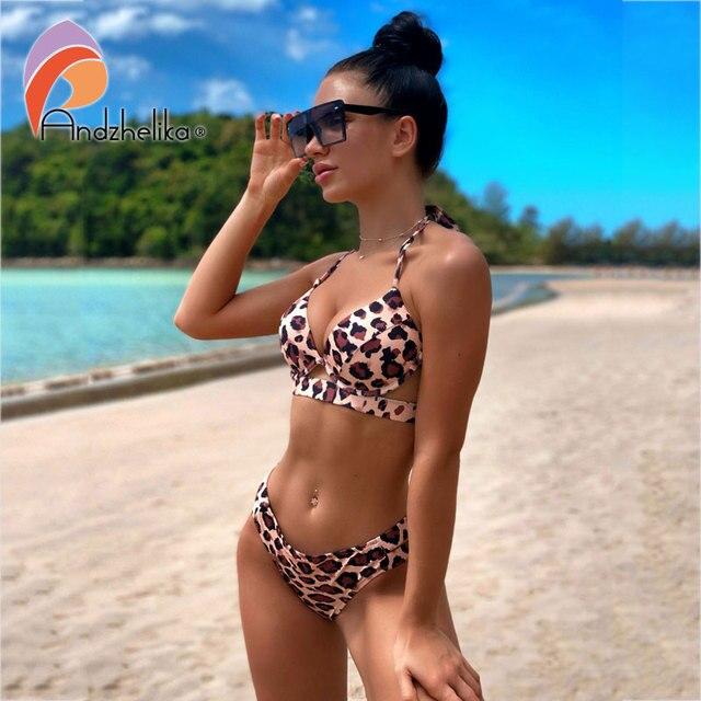 Andzhelika Bikini Set in Solid Colors or Leopard Print 2