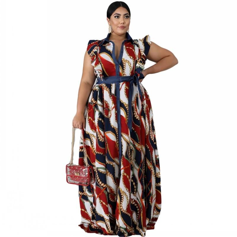 4xl 5xl 6xl roupas femininas tamanhos grandes verão vestido longo 2020 moda feminina casual vintage robe chique sem mangas maxi vestido