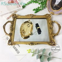 41*28cm Retro Gold Mirror Metal Trays Rectangular Resin Home Decorations Ornaments Food Tray Serving Tray For Home Storage retro household rectangular tea fruit tray jewelry luxury resin mirror beauty salon spa essential oil tray serving trays