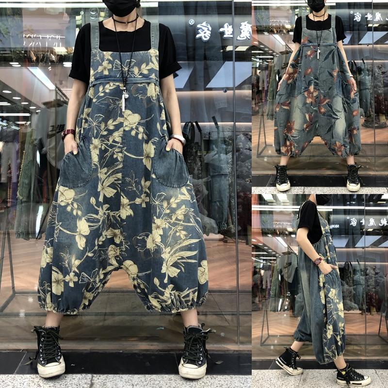 Drop Crotch Denim Jumpsuits Women Big Size Baggy Wide Leg Rompers Pants Patchwork Suspenders Cowboy Overalls Hip-Hop Harem Jeans