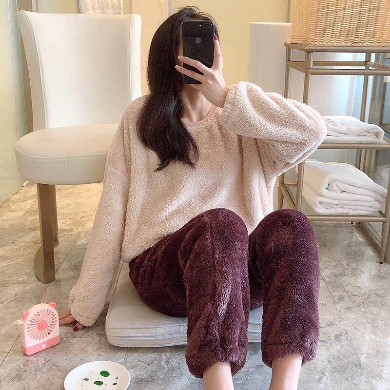 Plus Velvet Thick Solid Color Warm Women Coral Fleece Pajamas Set Long Sleeve Young Pyjamas Velvet Top Women Elastic Outwear