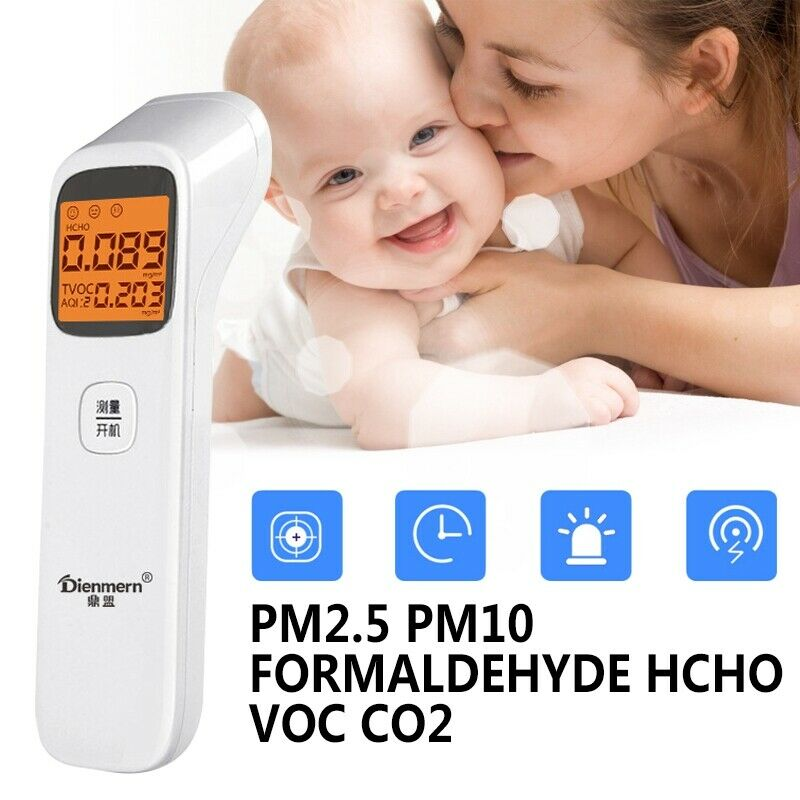 3inch 1 Air Quality Monitor PM2.5 PM10 Formaldehyde HCHO VOC CO2 Detector Air Quality Tester Smart Multi Gas Monitor Hvac Tools