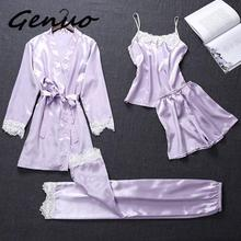 Genuo New Autumn Silk Pajamas Sets for Women 4 Pieces Pijamas with Belt Satin Sleepwear Elegant Lace