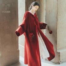YOSIMI осень зима Макси длинное женское хлопковое пальто с капюшоном пальто Pius большой размер длинный рукав свободного кроя красный открытый стежок Повседневный