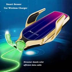 KISSCASE uchwyt samochodowy na telefon R9 uniwersalny uchwyt samochodowy odpowietrznik na podczerwień 10W bezprzewodowy uchwyt na telefon