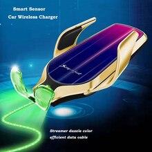 Kisscase titular do telefone do carro r9 universal montagem de saída ventilação ar indução infravermelha 10w carregador sem fio telefone titular