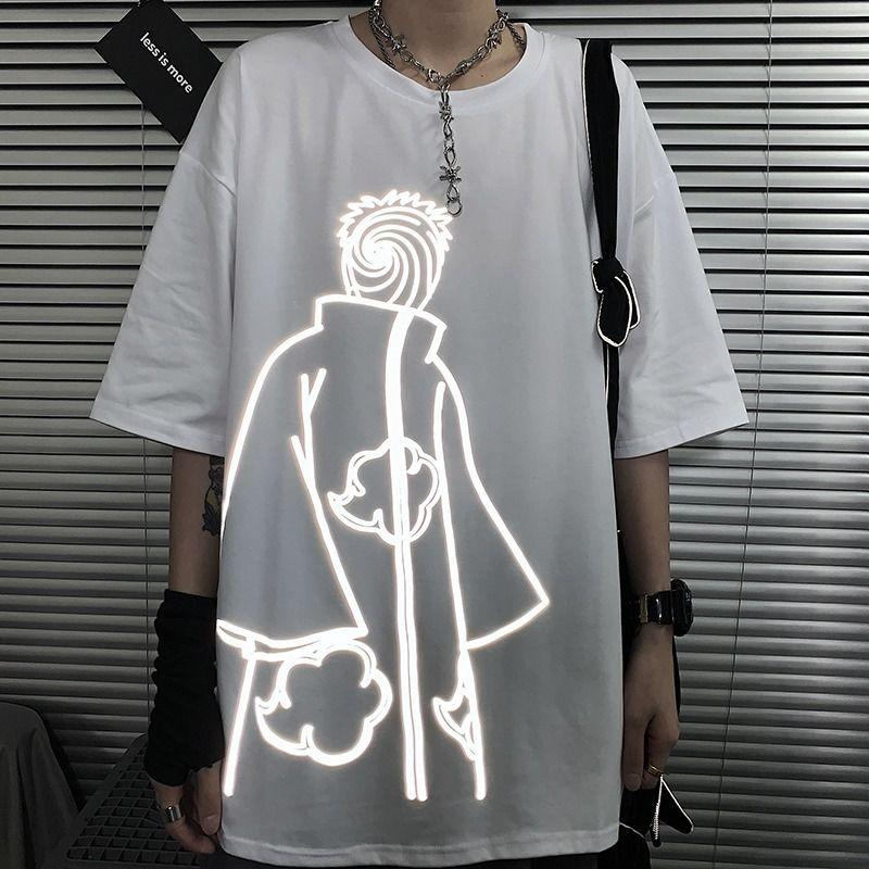 Футболка Kwaii мужская с амином, уличная одежда в стиле Харадзюку, свободная повседневная мультяшная Топ, смешная Готическая Светоотражающая ...