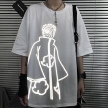 Homem harajuku amine t camisas streetwear verão kawaii solto camiseta casual dos desenhos animados engraçado gótico reflexivo tshirt streetwear