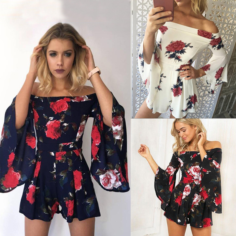 Sexy Fliral Print Off Shoulder Slash Neck Sleeveless Ruffled Rompers Womens Short Jumpsuit Summer Overalls Sexy Playsuit
