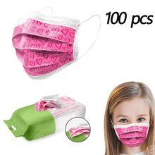 Mascarilla desechable con estampado rosa para niños, máscara facial a la moda para niños, filtros de respiración, 3 capas, no mascarilla de tela