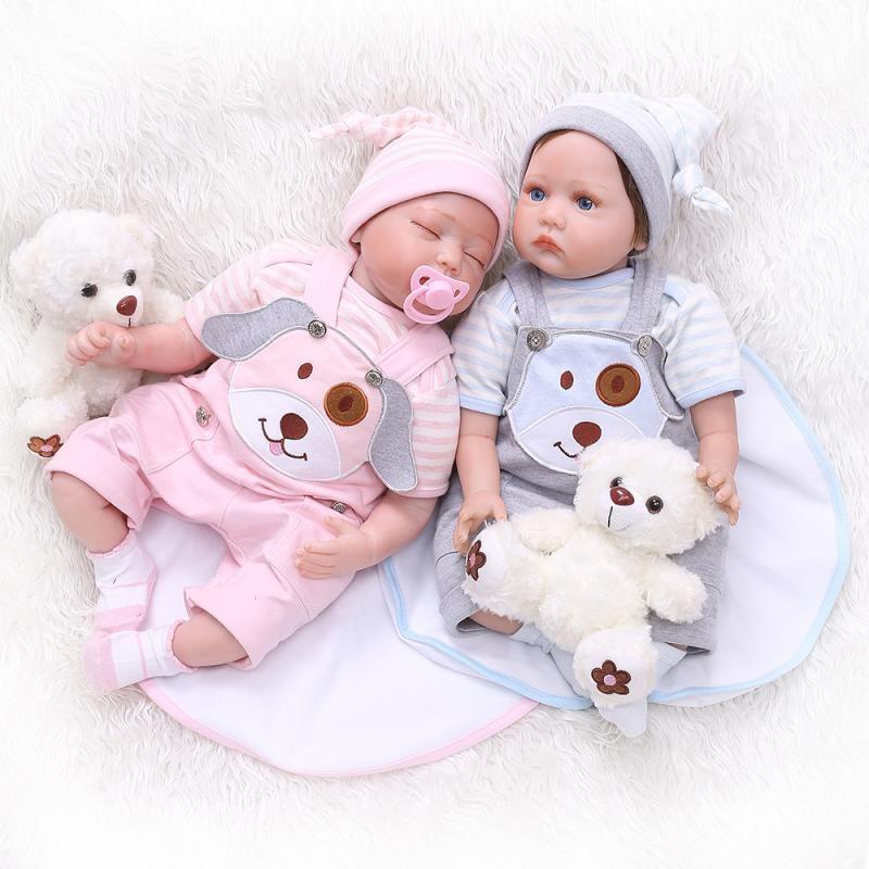 NPK Bebe Reborn Realista Lifelike Full Silicone Reborn Baby Doll 22inch Boneca Reborn Dolls for Girls Gifts Juguetes Brinquedos