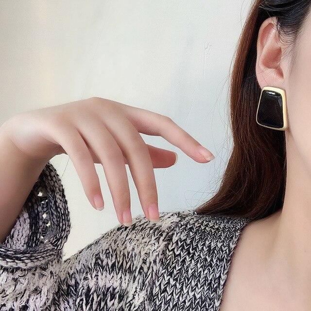 5Colors Black/White Enamel Korean Stud Earrings For Women 2019 Fashion Jewlery Simple Female Earring Oorbellen Aretes De Mujer 5