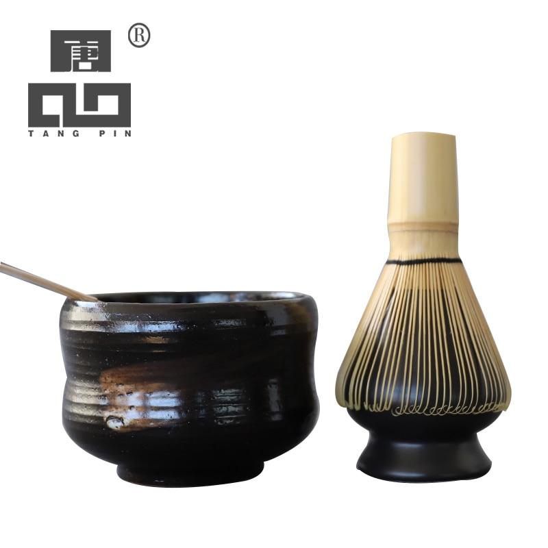 TANGPIN 4pcs/set Traditional Matcha Giftsets Bamboo Matcha Whisk Scoop Ceremic Matcha Bowl Whisk Holder Japanese Tea Sets