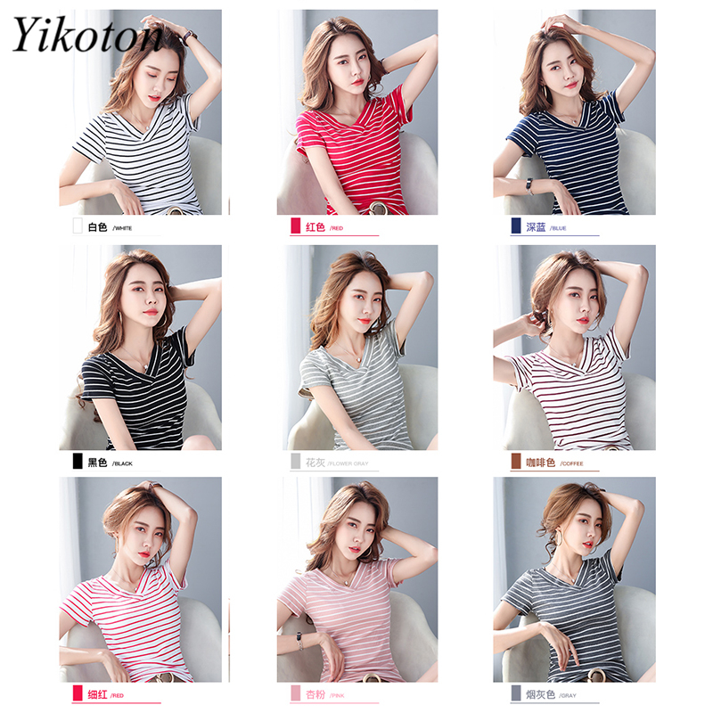 100% Cotton Womens T-Shirt Stripes V Collar T Shirts Short Sleeve Clothes Women Slim Basic Tshirt Casual Top Tees For Female 6