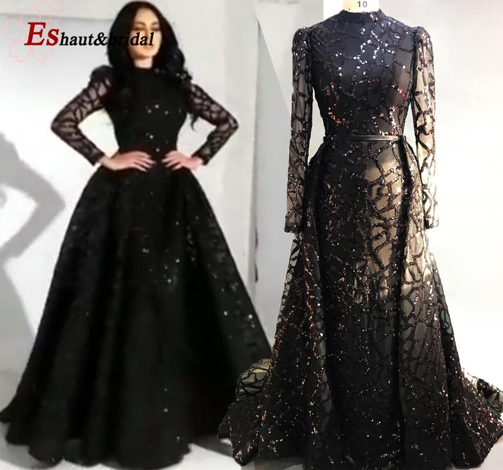 2019 Dubai Black/Burgundy Sequins Mermaid Evening Dress Long Sleeves High Neck Detachable Cape Prom Party Gowns