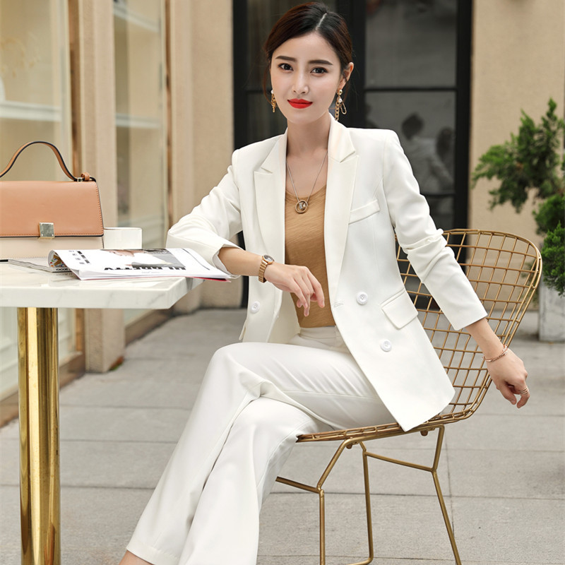 High quality women's suits white pants suit 2019 autumn and winter slim double-breasted jacket blazer Female office wear
