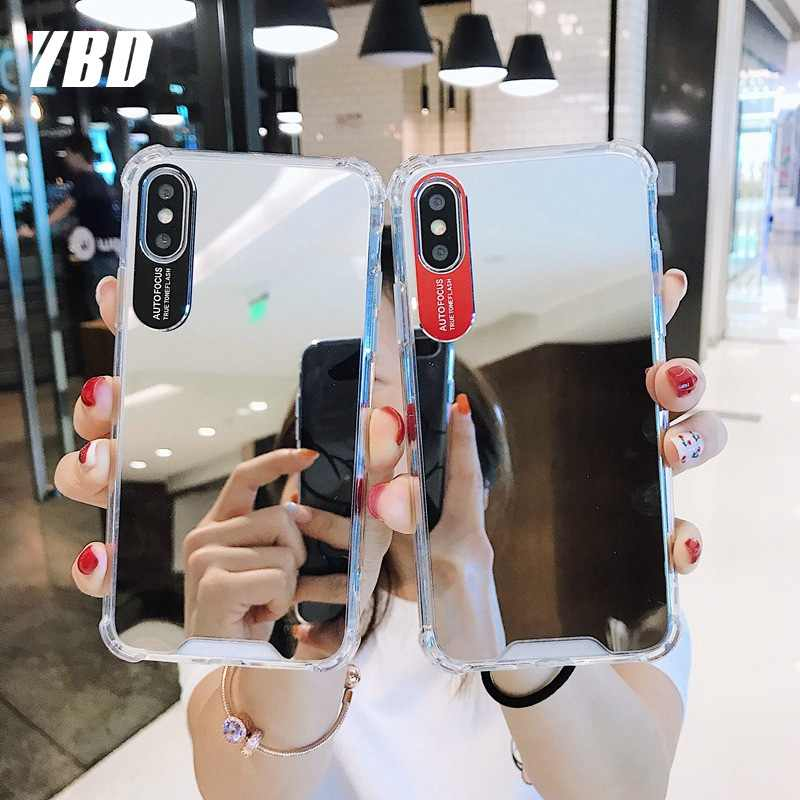 YBD Hard PC Mirror Phone Case for iPhone 7 X XR 8 XS 11 Pro Protective Case for iPhone 6s XS Max 8 plus 5s Cover Funda Coque