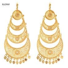 Brincos de ouro longo com coração pingente árabe moda gota brincos amor coração brincos jóias para nupcial