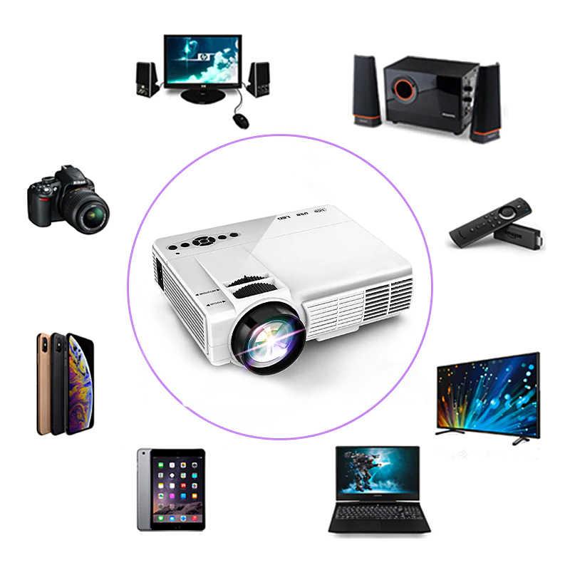 Potente Mini proyector Q5 2600 lúmenes 800*600dpi soporte 720P LED portátil Cine en Casa Android Pantalla de sincronización inalámbrica para teléfono