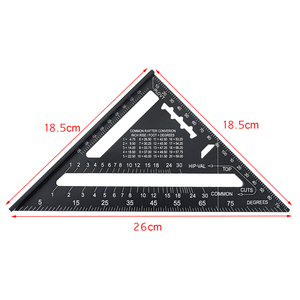 Image 5 - 12inch Speed Square Metric Aluminum Alloy Triangle Ruler Squares for Measuring Tool Metric Angle Protractor Woodworking Tools