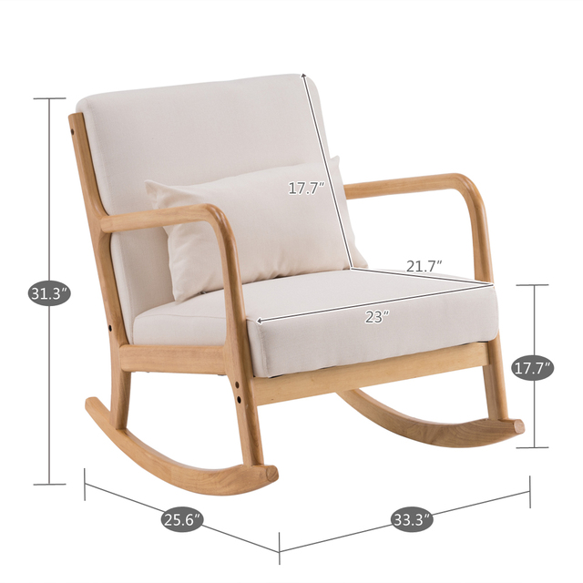 Rocking Chair Fabric Recliner w/ Ottoman 6