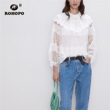 ROHOPO Butterfly Collar Overlocked Neckline Tulle Blouse White Blouse Puff Sleeve Daisy Embroidery Chiffon Shirt #9266 plunging neckline puff sleeve wrap sweater