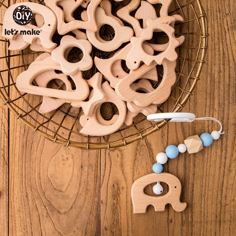 Let's Make 10pc Wooden Teether Charm Solid Beech Wood Animal Cactus Alpaca Leaves Straw Diy Elephant Pendant Baby Teether