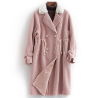 Real Fur Coat Female Autumn Winter Natural Mink Fur Collar Jacket Women Sheep Shearing Coats Jackets 100% Wool Tops Hiver F23778