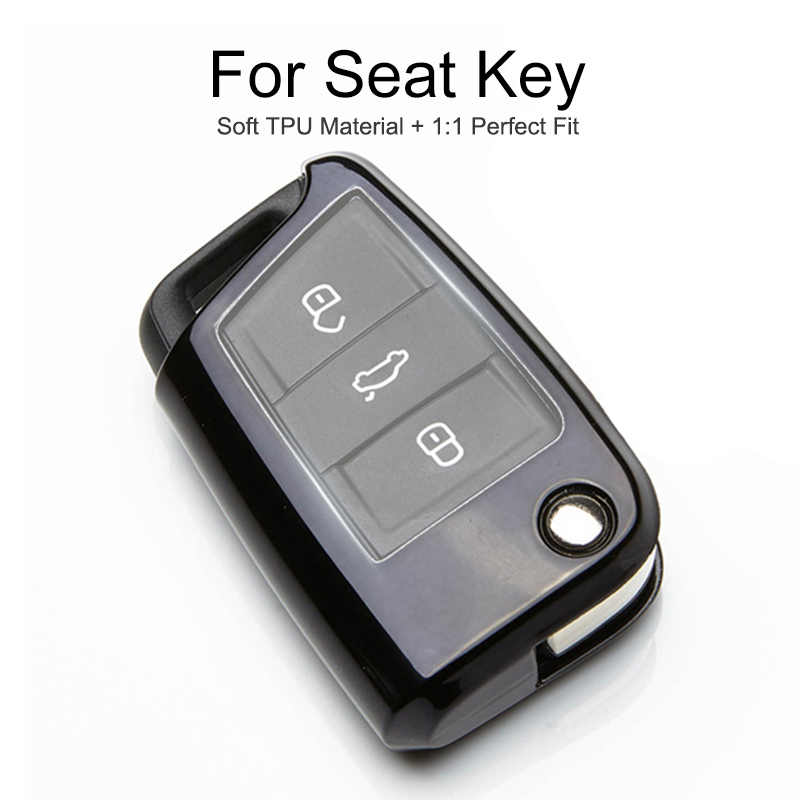 TPU Protection Car Key Cover Case For Seat Leon 2 Mk2 MK3 ST 1 3 1M FR Alhambra Cordoba Toledo Ateca Key Chain Ring Accessories