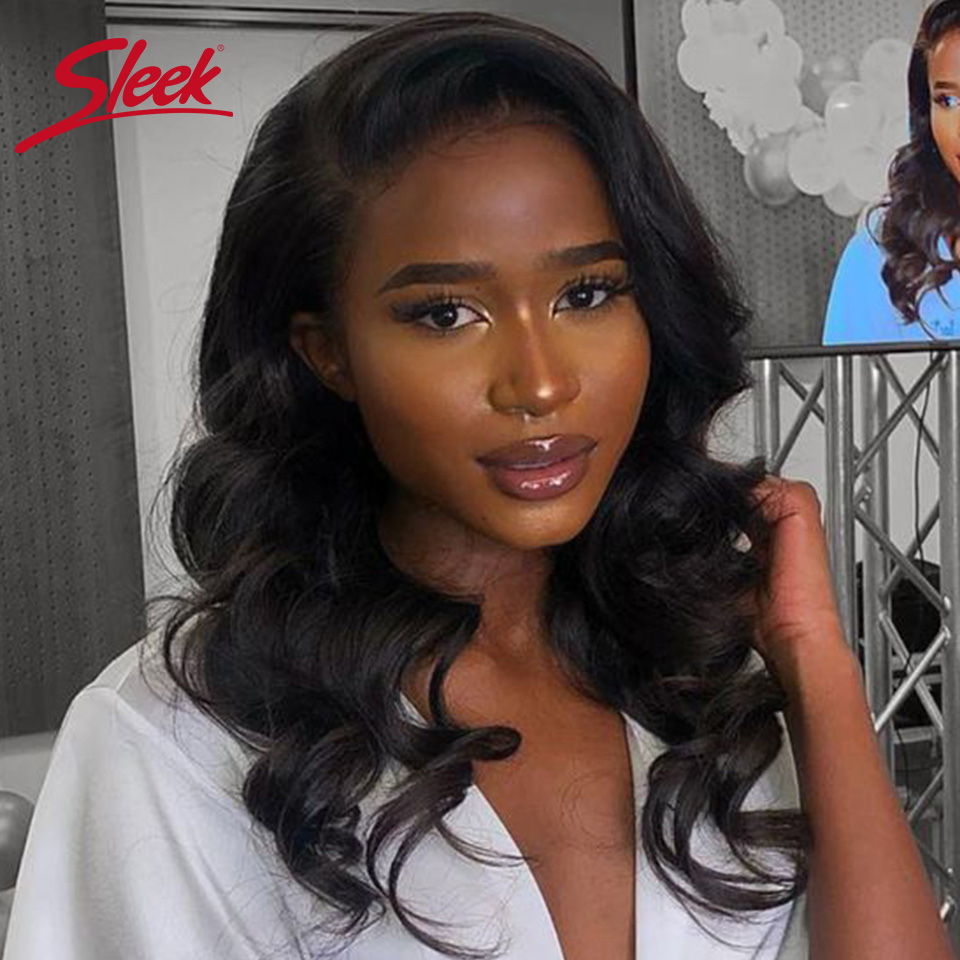 Sleek Lace Front Human Hair Wigs Loose Wave Lace Wig 100% Remy Brazilian Hair Wigs U Part Lace Wigs Real 16 Inch Wig For Women